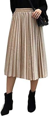 Mujer Faldas De Terciopelo Faldas Plisadas Largo Cintura Elástica ...