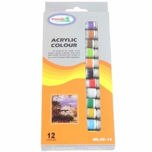 12 x Packs Acryllic Colour Quality Artist Paint set of 12, 9ml TubesMQ-017