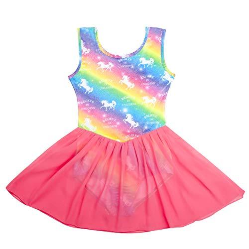 Nidoul Skirted Gymnastics Ballet Leotard for Girls|Kid Unicorn Rainbow Athletic Dance Ballet Tutu Dress