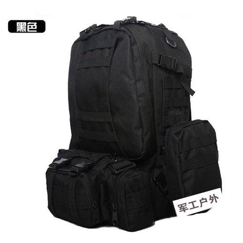 JWBB fans del ejército, bolsas de hombro, hombres de las fuerzas especiales, tácticas de camuflaje gran paquete pack, caminatas al aire libre Camping Viaje mochila extraíble, negro Negro