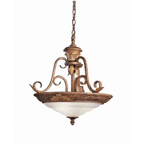 - Kichler Lighting 2796SCK Castilla Convertible Semi-Flush Ceiling Light/Chain Drop Pendant, Seine Crackle with Gold Accents and Satin-Etched Glass