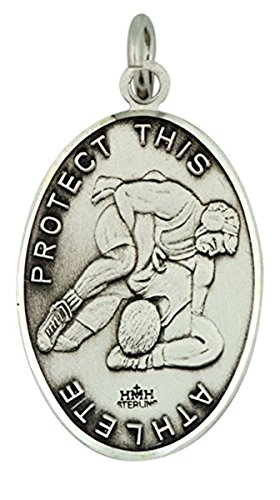 Sterling Silver Saint Christopher Male Wrestling Sports Athlete Medal, 1 1/16 Inch by Unknown