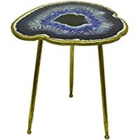 Resin Accent Tables Rts-Blue Agate Geode Design Faux Gold Leaf Finish Decorative Accent Table 24 In, 19.5 X 24 X 18 Inches Blue
