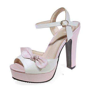 YFF Chaussures Sandales femmes Talon robe extérieure en simili cuir boucle,Bowknot Rouge Rose,US6 / EU36 / UK4 / CN36
