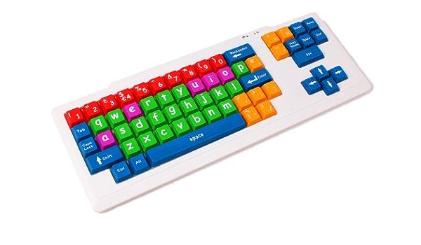 DURAGADGET Colorido teclado para niños con discapacidad visual/necesidades especiales y autismo, ideal para enseñar y aprender en casa (dimensiones: ...
