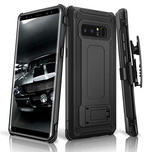 Galaxy Note 8 case, eSamcore Full Body Protection Shockproof Case Cover with Rugged Heavy Duty Holster Clip Kickstand [Without Built-in Screen Protector] for Samsung Note 8 2017 [Black]