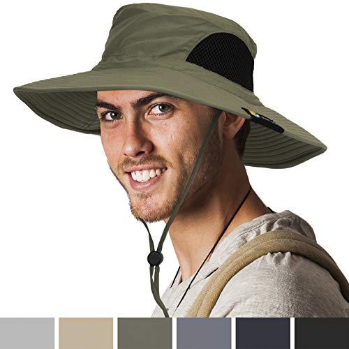 SUN CUBE Premium Boonie Hat | Wide Brim Adjustable Chin Strap | Outdoor Fishing, Hiking, Safari, Summer Bucket Hat | UPF 50+ Sun Protection | Packable Breathable Men, Women Mesh Hat (Olive) ()