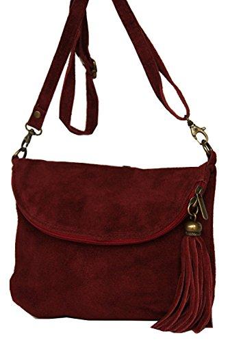 Leder- Messenger-/Umhängetasche Tasche aus echt.Velour-/Wildleder, Minibag Italy Fashion-Formel