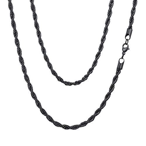 (FaithHeart 3MM Twisted Rope Chains, Black Gun Plated DIY Hip Hop Necklace for Men/Women, Chain for Pendant 30