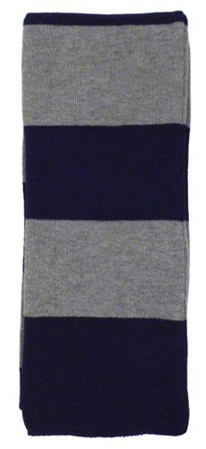 Long Striped Scarf (Simplicity Winter 2-Tone Striped Acrylic Neck Scarf, Navy/Grey)