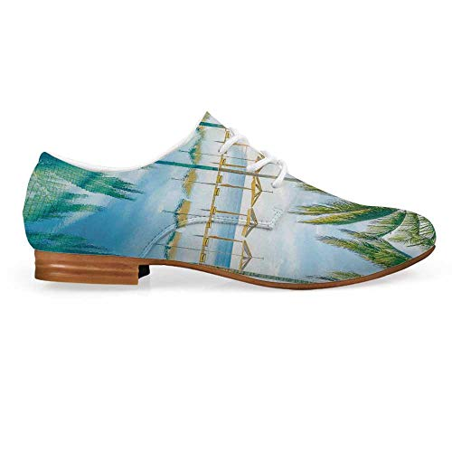 - Landscape Leather Oxfords Lace Up Shoes,Pool by The Beach with Seasonal Eden Hot Sunny Humid Coastal Bay Photography Bootie for Girls ladis Womens,US 9