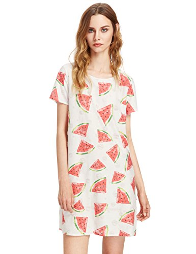 ROMWE Women's Casual Short Sleeve Ripped A-line T-shirt Dresses White XS ()