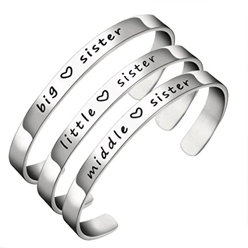 Big Brother Little Sister Halloween Costumes (Simple Big Sis Middle Sis Little Sister Stainless Steel Bracelet Open Cuff Bracelet For Women Girls)