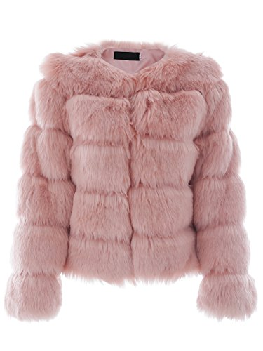 (Simplee Women Luxury Winter Warm Fluffy Faux Fur Short Coat Jacket Parka Outwear Pink)