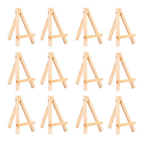 AZAKBL 卓上 ミニイーゼル 木製 小型 イーゼル ミニ ディスプレイスタンド 油絵 水彩画 スケッチ イーゼル 12個セット