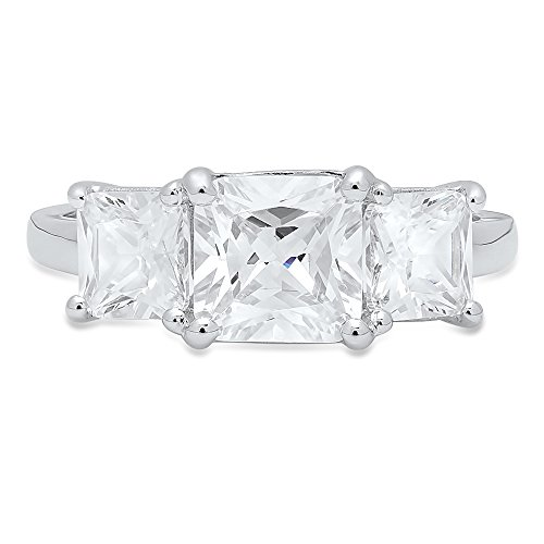 3.35 CT Brilliant Square Emerald Cut CZ Designer Solitaire 3-Stone Band Ring Solid 14K White Gold