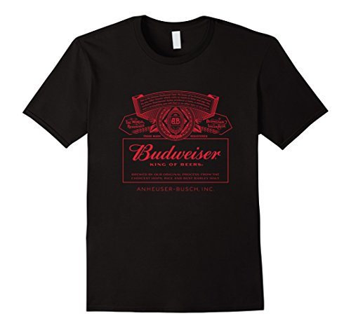 Mens Budweiser Can Label T Shirt 2Xl Black