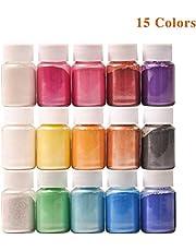DEWEL ca.150g Naturale Pigmenti Coloranti, Mica Powder ca.10g*15 Colori Mica Polvere Colorante Polveri Perlato per DIY,Sapone, Slime,Candele, Acquerello, Cosmetici