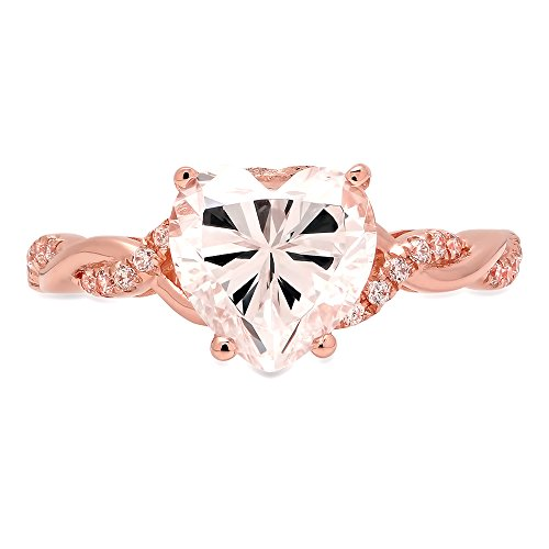 Gold Twisted Heart (2.09ct Heart Brilliant Cut Criss Cross Twisted Solitaire Wedding Anniversary Promise Engagement Bridal Ring Band 14k Rose Gold for Women, 10.5)