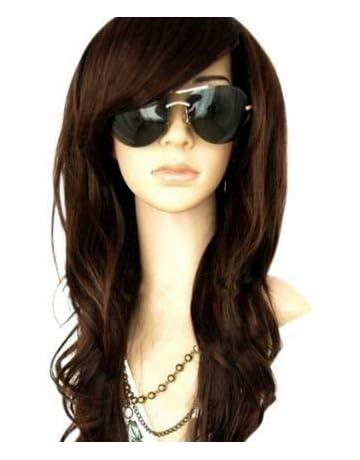 MelodySusie Dark Brown Long Wavy Curly Wig - 34