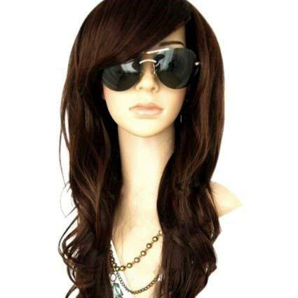 MelodySusie Dark Brown Long Curly Wavy Wig for Women, 34 Inches Hair Replacements Wigs with Bangs Synthetic Hair Wig Natural Looking Daily Party Cosplay Costume Wigs with Free Wig Cap, Dark Brown (Hair Braided To The Side With Weave)