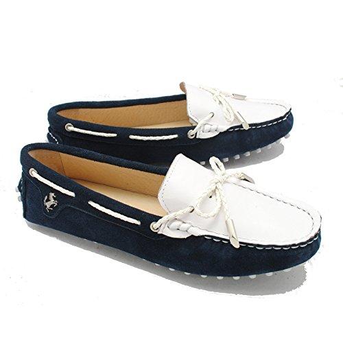 Tda Kvinna Avslappnad Snörning Läder Igång Walking Reser Driv Loafers Blå