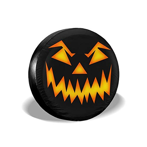 Halloween Scary Pumpkin Face Spare Tire Cover Protector Novelty Wheel Tire Cover Camper Travel Trailer Accessories for Most Vehicle]()