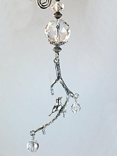 Branch Sweet (Silvery Sweet Bird on a Tree Branch Clear Faceted Glass Ceiling Fan Pull Chain)