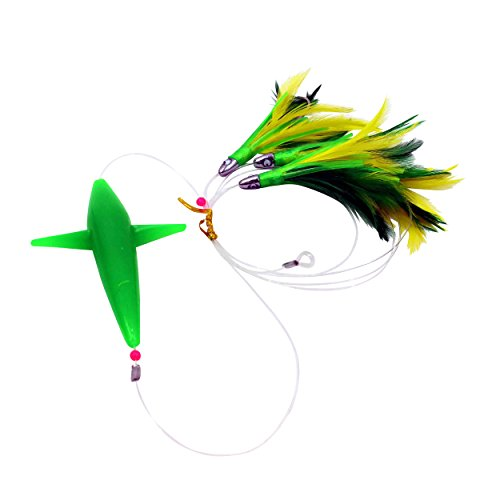 MagBay Lures Daisy Chain Teaser with Bird - Green Feather Teaser Rigged with Lure Bag