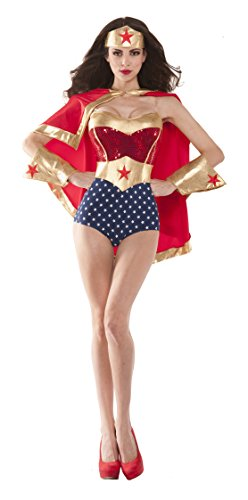 Party King Women's Wonderful Babe Sexy 4 Piece Costume Set, Red/Gold, Large - Superhero 4 Piece Costumes