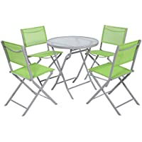 5 PCS Bistro Set Garden Folding Chairs Table Outdoor Patio Furniture