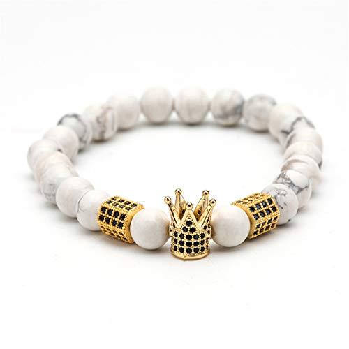 Couples Distance Crown Charms Bracelets For Men Women Natural Stone Beaded Strand Wrap Buddha Bracelets&Bangles Male Jewelry B020377