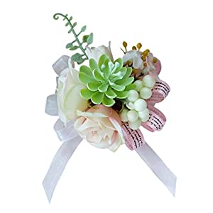 Fityle Elegant Succulent Plant Rose Flower Wristband Wedding Prom Party Corsage 13