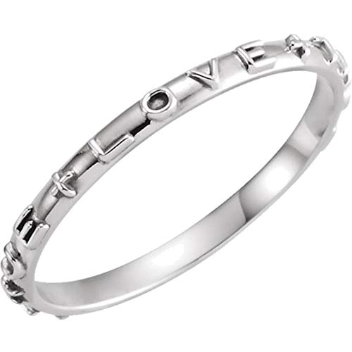 Bonyak Jewelry 14k White Gold True Love Chastity Ring with Packaging - Size 7