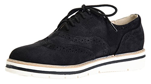 Lusthave Femmes Tinsley Lace Up Plate-forme Brogue Trim Oxford Appartements Sneakers Mocassins Noir