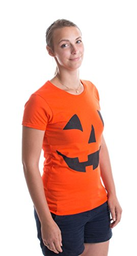 JACK O' LANTERN PUMPKIN Ladies' T-shirt / Easy Halloween Costume Fun Tee, Orange, XX-Large ()