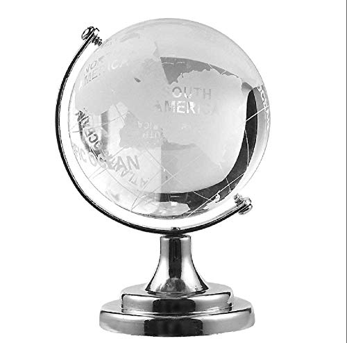 Christmas Gift Crystal World Map Round Earth Globe Glass Sphere Ball Cute Table Ornaments Clear Crafts Art Beautiful silver