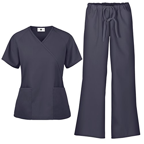 Women's Scrub Set/Medical Mock Wrap Top & Drawstring Scrub Pant (XS-3X, 7 Colors) (Small, ()
