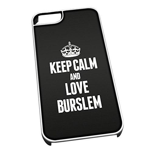 Bianco cover per iPhone 5/5S 0120nero Keep Calm and Love Burslem