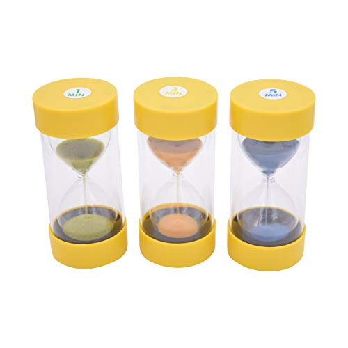 (Playlearn Glass Sand Timers - Sensory Hourglass - 3 Pack - 1, 3 and 5 Minute Timer)