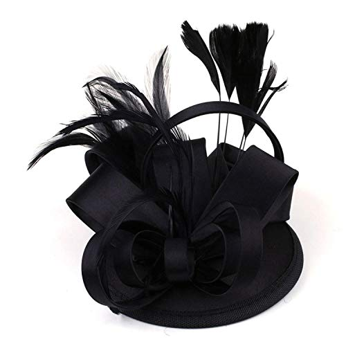Fashion Lady Girl Vintage Satin Fascinator Feather Clip Hat Topper Party Wedding Races Hair Clip Accessories,Black