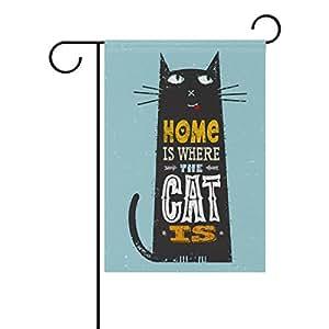 ALAZA Vintage lindo gato negro poliéster bandera de Jardín Casa Banner 12x 18inch, dos Sided bandera de bienvenida Patio Decoración para Boda Fiesta Decoración para el hogar