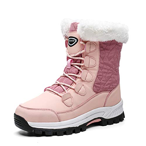 gracosy Women's Fur Lining Winter Boots Outdoor Waterproof Snow Boots Lace Up Warm Ankle Boots Comfort Platform Sneaker…