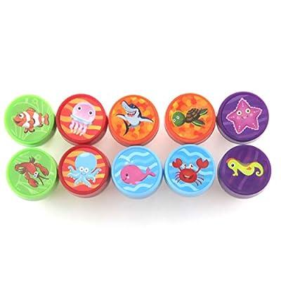 10 Pieces Kids Mini Stampers Safari Stampers Self-Ink Stamps (Ocean Animal): Toys & Games