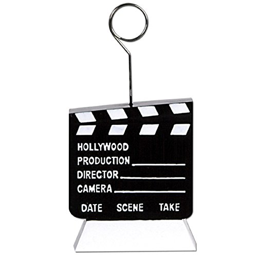 Pack of 6 Black and White Hollywood Movie Clapboard Photo or Balloon Holder Party Decorations 6 oz.