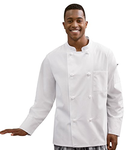 White Swan Unisex Knot Button Chef Coat (White, Large) - French Knot Chef Coat