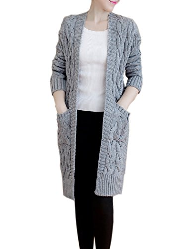 NUTEXROL Women's Open Front Long Sleeve Knit Think Cardigan Chunky Sweater Grey Large
