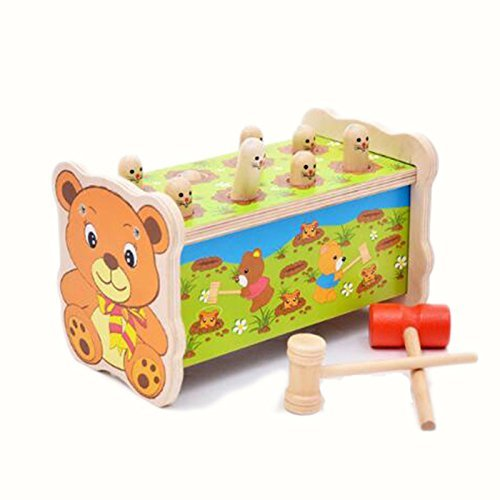 BigNoseDeer Bear Pounding Bench Wooden Toy With Hammer,cute Gophers Pegs Education Toy with Mallet
