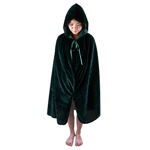 Samtree Christmas Halloween Costumes Cape for Kids,Velvet Hooded Cosplay Party Cloak (S(Length:23.6