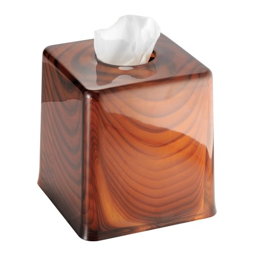 InterDesign York Tint Facial Tissue Box Cover/Holder for Bathroom Vanity Countertops - Brown Tortoise ()